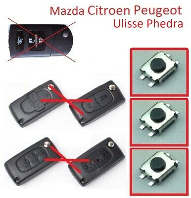 3 Pulsante Chiave Auto Micro Switch Peugeot Citroen Ulisse Phedra Mazda Renault