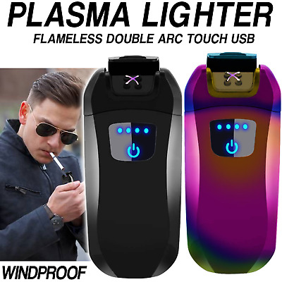 Electric Lighter USB Rechargeable Double Arc Flameless Plasma Windproof No Gas