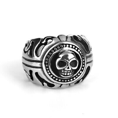 Men Biker Stainless Steel Gothic Punk Rock Skeleton Skull Shield Finger Ring