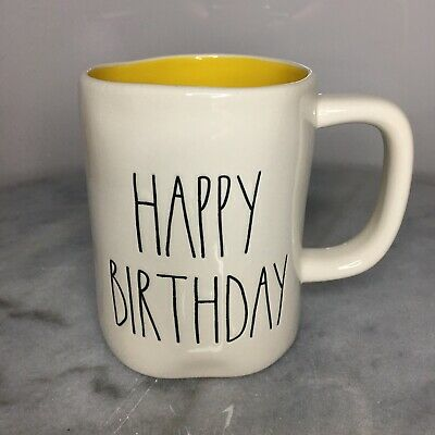 New Rae Dunn HAPPY BIRTHDAY Large Letter LL Mug With Yellow Inside