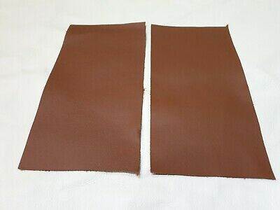 "Tan Old English 100% leather 9""x 4.5"" offcuts 2 pieces 1.1mm Patch Repair Craft"