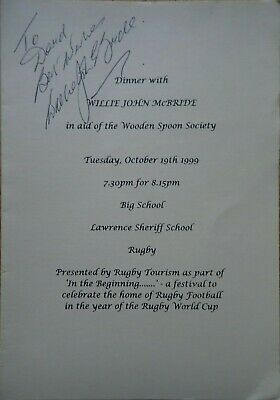 Willie John Mcbride Irish Rugby Legend  Signed dinner programme