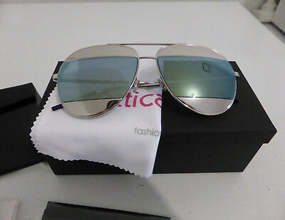 b6f18b9be23 BRAND NEW CHRISTIAN DIOR Split 1 010 3J Palladium Silver Blue Aviator  SUNGLASSES