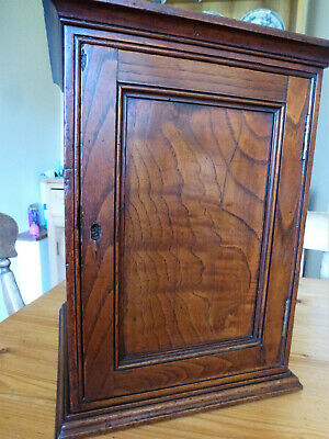 Unusual small antique elm wall or table cupboard with shelves superb colour