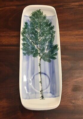 Sheepscot River Pottery Edgecomb Maine Hand Painted Dip Tray Plate Birch Tree