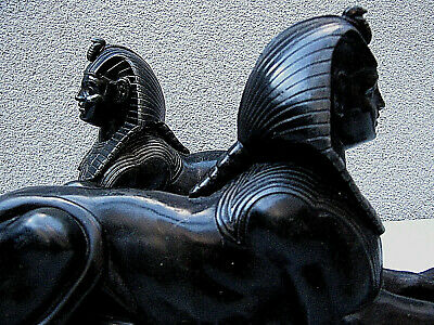 Pair Victorian bronzed spelter sphinx after George Vulliamy on marble plinths