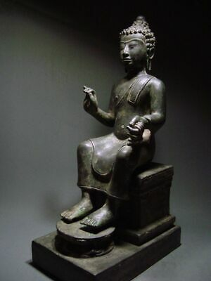 ENTHRONED BRONZE MON DVARAVATI BUDDHA 'EUROPEAN STYLE'. BURMA INFLUENCE 17/18thC