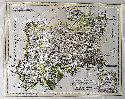 Map of MIDDLESEX by Thomas Kitchin c1770 Copperplate original engraved antique