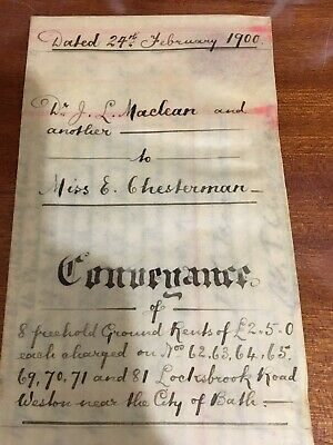 Antique 1900 Indenture Conveyance Bath Property Dr Maclean V Chesterman Written
