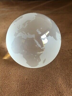 Tiffany  Frosted Crystal Glass Paperweight Globe