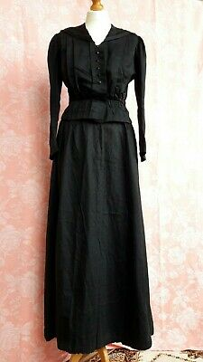 Antique French Victorian Mourning Jacket and Skirt Silk? Bodice Blouse Suit
