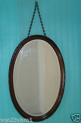 "EDWARDIAN ANTIQUE-1940s-LONG 30""x19""5KG-OVAL BEADED WOOD FRAME-BEVELLED MIRROR"