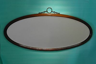 """REFLECTIVE TOUCH-VICTORIAN-OVERMANTLE-WIDE-39""""x17""""6KG OVAL WOOD-BEVELLED MIRROR"""