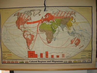 1967 DENOYER-GEPPERT Cultural Regions and Migrations Wall Map