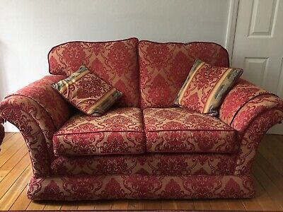 2 Seater Sofa fabric Red and Gold, excellent condition