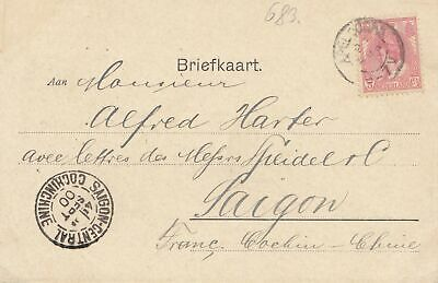 French colonies Briefkaart 1900 Apeldorn to Saigon Cochinchine