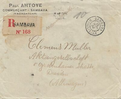 French colonies: Madagascar: 1928: letter registered to Dresden