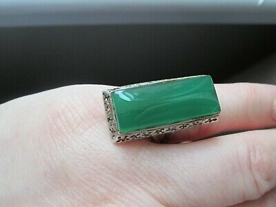 Sterling silver green stone vintage Art Deco antique ring  small size