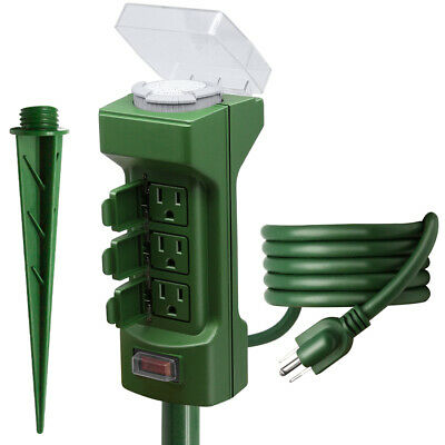 Outdoor Power Stake Timer, Kasonic 6 Grounded Outlets Mechanical Timer for Yard&