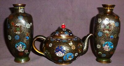 Very Fine Japanese Cloisonne Pair of Vases & Matching Teapot Super Detail Rare