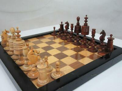 ANTIQUE CHESS SET GERMAN BARLEY TWIST PATTERN K 84 mm PLUS  BOX  AND BOARD
