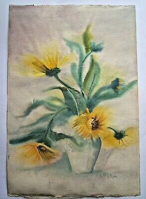 Original Art Watercolor Still Life SunFlowers Hand Painted Signed Vintage 2 in 1