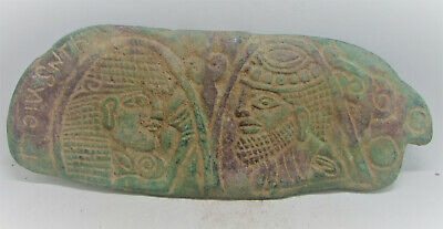 Scarce Ancient Sasanian Bronze Fitting With Inscriptions And Faces