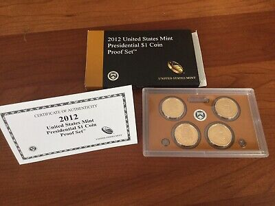 2012 United States Mint Presidential $1 Coin Proof Set - 4 Coin Set W/ Box & Coa
