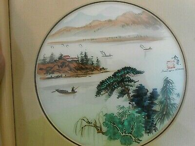 Seaport Boat Mountains Original Watercolor by Anton Wang  China Landscape Framed