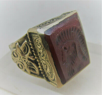 Superb Late Medieval Ottoman Islamic Gold Gilded Ring With Carnelian Intaglio