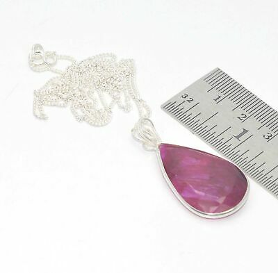 925 Solid Sterling Silver Faceted Red Ruby Chain Pendant- 19.6 Inch Ut959