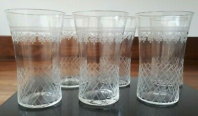 Stunning Set of 6 Antique Crystal Cut Glass Cordial Tumblers Excellent Condition