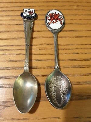 Vintage Cardiff Wales Dragon Souvenir EPNS Silver Plated Spoons