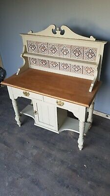 Antique pine wash stand with tiled back