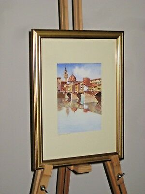Original Watercolour Painting Ponte Vecchio Florence Firenze Italy Signed 2005