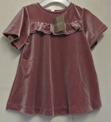 New Next girls velour dress Dusky Pink 3-6 months last one