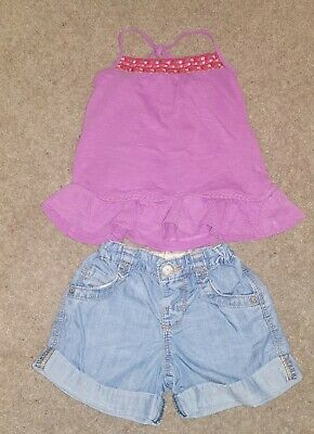 Girls M&S denim jeans Shorts Vest Set Age 2-3 summer outfit