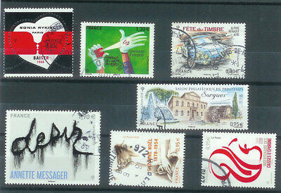 Superbe Lot 7 Timbres Gommes 2018 Obliteres Ttb Pcd Rond