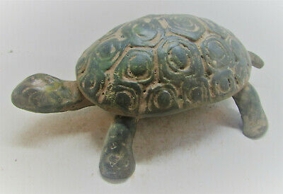 Scarce Circa 600-300Bce Ancient Greek Bronze Seal Box Aegina Turtle Very Fine