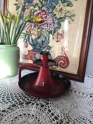 Antique French Red Enamel Candle Holder/Stick #4120