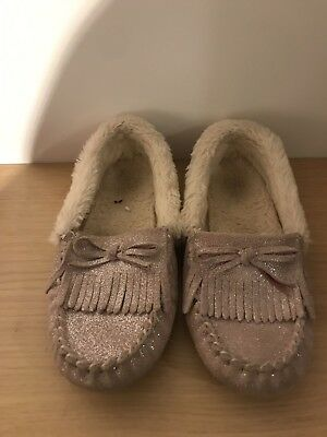 M&S Girls Sparkly Moccasin Slippers  UK 2. Fit 13-1 Leather Upper.Silver sparkle