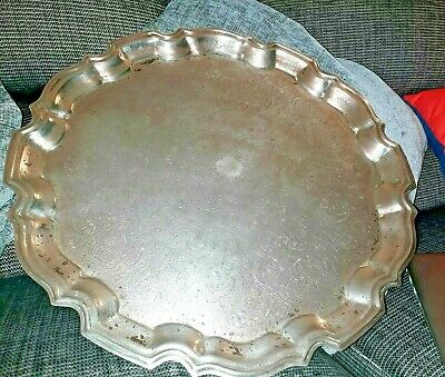 Antique Silver Plate Scallop Edge Salver Tray 14 Inches Stainless Steel