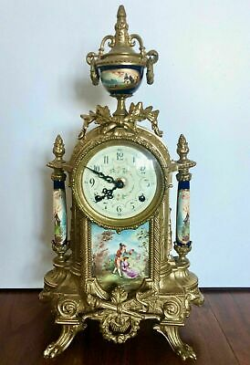 Antique French 8 Day Bronze Ormolu Porcelain Mantle Clock