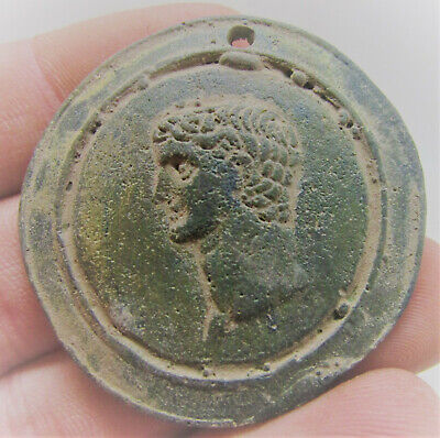 Scarce Ancient Roman Bronze Pendant With Face Of Emperor Needs Research
