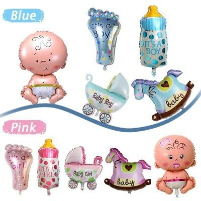 5Pcs Girl Boy Blue pink Foil Helium Balloon Newborn Baby Shower Christening