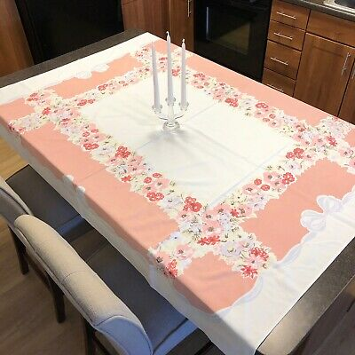 """Vintage 1950's Pink & White Floral Border Tablecloth 63"""" x 52"""""""
