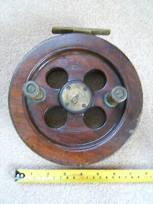 "Vintage Rare Scarborough Wood And Brass 7 "" Fishing Reel With Slater Drum Latch"
