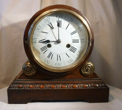Antique Victorian Drum Head Two Train Mantel Clock Mechanical Chiming Oak Case