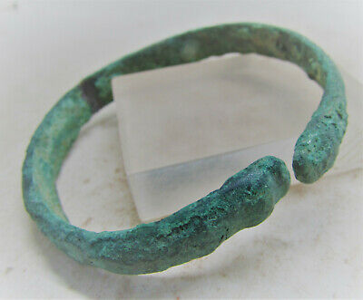 Ancient Viking Norse Bronze Bracelet With Serpent Head Terminals Very Fine State