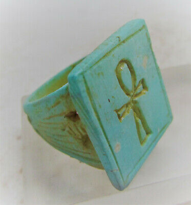 Beautiful Ancient Egyptian Glazed Faience Ring With Ahnk Key Of Life